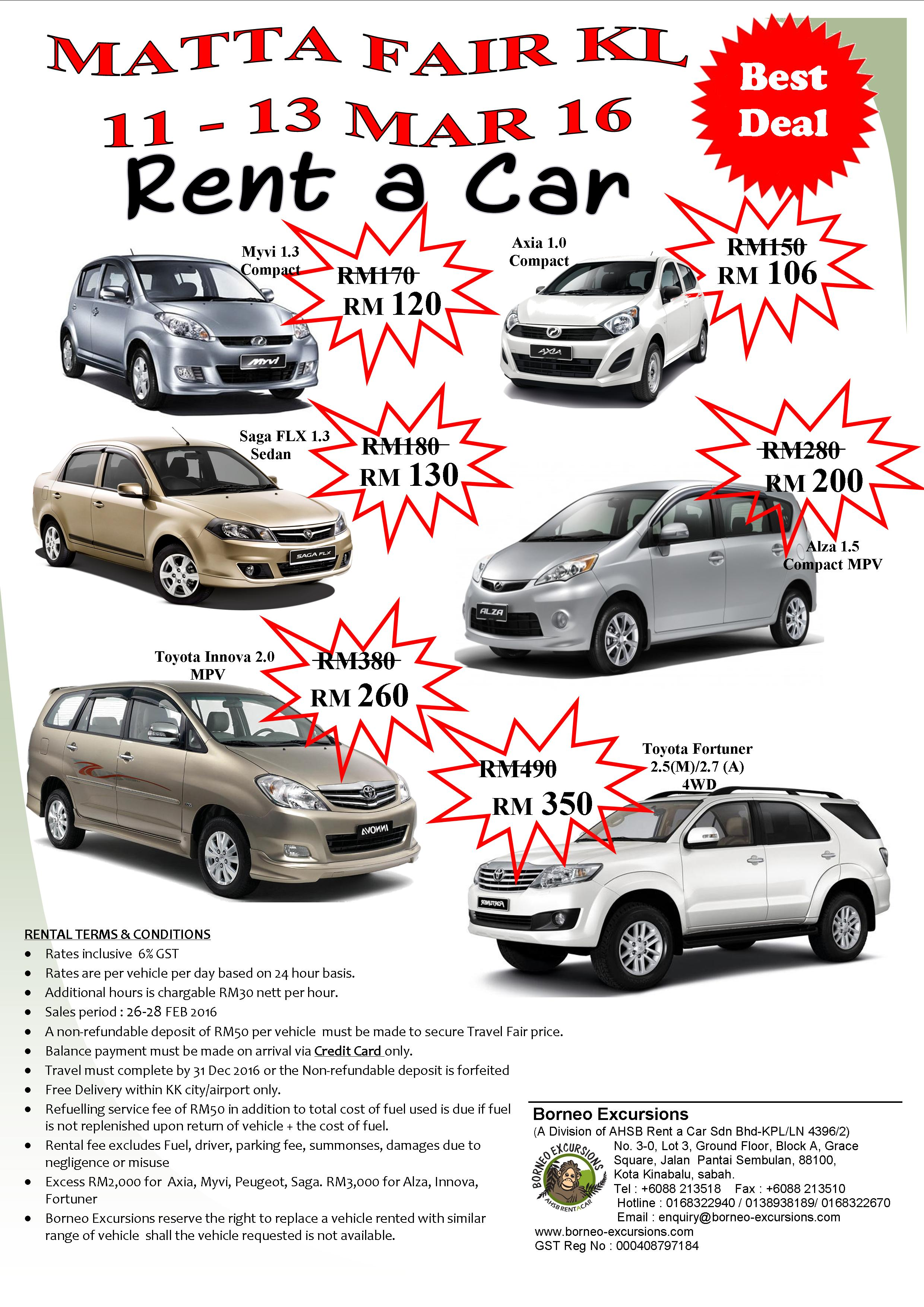 car rental brochure matta fair  kl 11-13 mar 2016